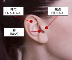 耳つぼに用いられるツボ3つ